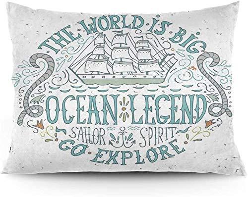 Keyboard cover Funda de cojín de diseño náutico vintage con la quota de marinero oceánico y una funda de almohada estampada a mano de 26 x 20 pulgadas