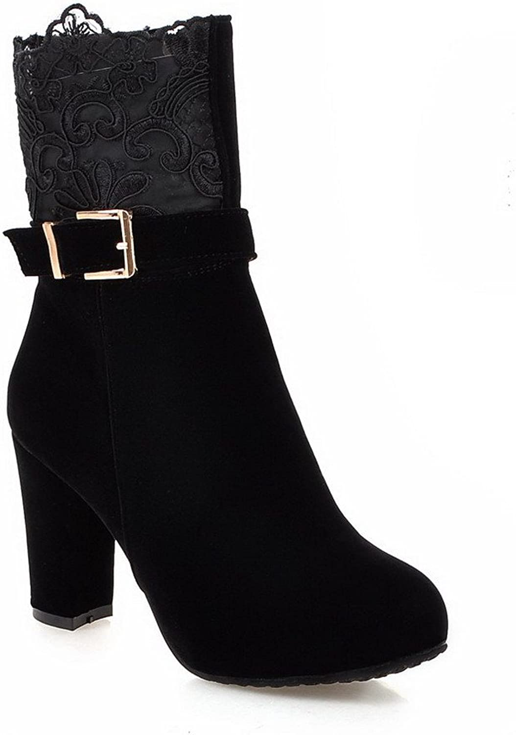 AllhqFashion Women's Imitated Suede Mid Top Solid Zipper High Heels Boots with Lace