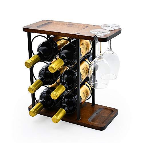 Wine Rack Multifunctional Wine Rack Table Type Wooden Wine Rack Rustic Countertop Wine Rack Can Hold 6 Bottles and 2 Glasses Metal Wine Rack