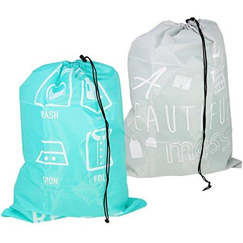 com-four® Bolsa de lavandería 2X para Viajes - Bolsa de lavandería para Ropa Sucia - colector de Ropa con cordón - 69 x 50 cm (02 Piezas - Turquesa/Gris)