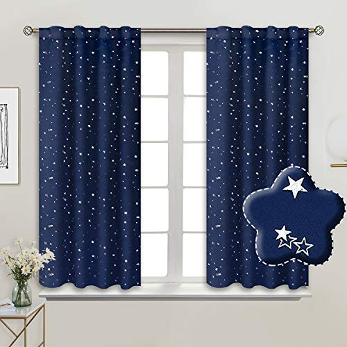 BGment Rod Pocket and Back Tab Blackout Curtains for Kids Bedroom - Sparkly Star Printed Thermal Insulated Room Darkening Curtain for Nursery, 38 x 45 Inch, 2 Panels, Navy Blue