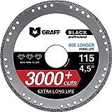 GRAFF BLACK 4 1/2 Diamond Cut Off Wheel for Metal - Cutting Wheel for Angle Grinder - 60x Longer Wheel Life - 115 mm