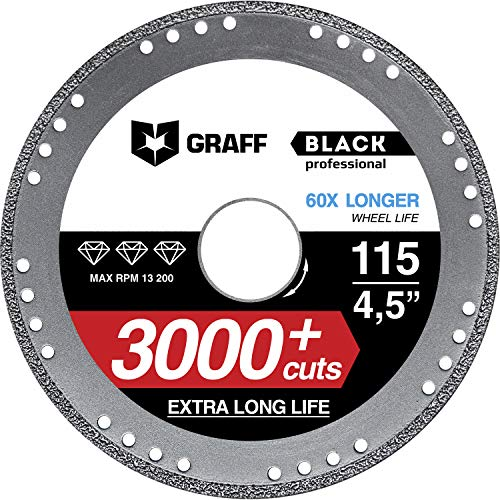 Diamond Metal Cutter GRAFF Black 4 1/2-Inch, Professional Angle Grinder Cutting Wheel, Sheet Metal Cutter, Cut Off Wheel 7/8-Inch Arbor - 3x Longer Metal Max Wheel Life (115mm)