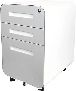 Bindertek Glide 3-Drawer Locking Mobile File Cabinet, File Storage, Letter/Legal Size Hanging Folders, Assembled, Steel Constructed, Light Grey (Glide-LG)
