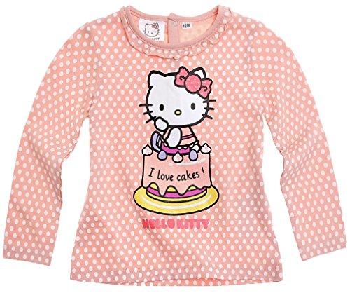 T-shirt bébé fille manches longues Hello kitty Pois rose/blanc de 3 à 24mois (12mois)