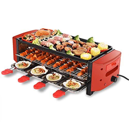 Raclette Grill   3 Etagen Elektrische Grillplatte Mit 6/8 Mini-Pfannen Temperaturwechsel • RED Smart Thermostatic Heat Control 260 ° C Große geriffelte Antihaft-Kochfläche   2100W