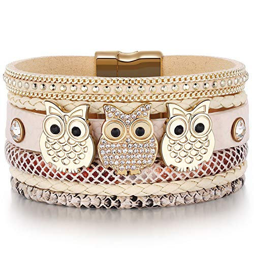 Leather Boho Wrap Around Stacking Bracelet,Cuff Animal Owl Multilayer Soft Wide Wrist Magnetic Clasp Metal Buckle Casual Bracelets for Women Mom Teen Girls Grandma