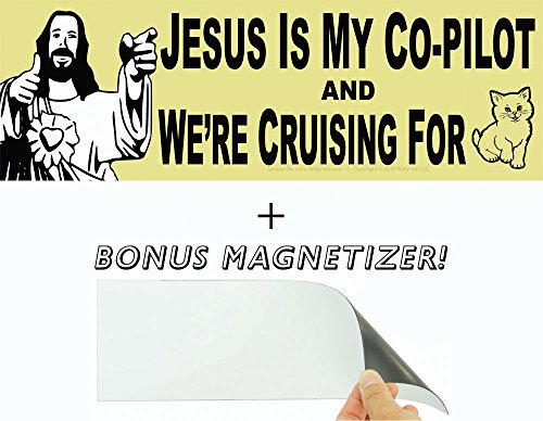 Jesus is My Co-Pilot & Were Cruising for...Cats? Bumper Sticker & Free Magnetizer. Best. Wingman. Ever. WWJD? Probably Shots. Funny Buddy Christ Joke. Hilarious Car, Window, Laptop & Driving Decal.