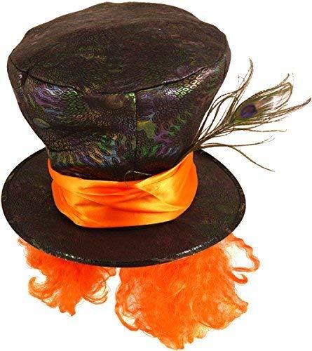Donna Uomo Nero Cappellaio Matto Alice nel Paese delle Meraviglie Piuma Fancy Abito Festa The Vestito Cappello Accessorio - One Size