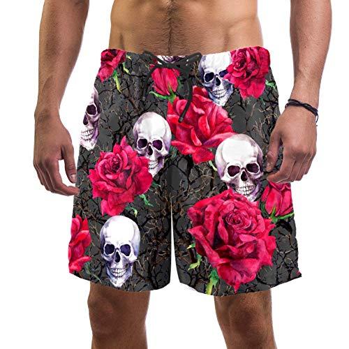 LORVIES - Bañador para hombre, diseño de calaveras, rosas y flores,