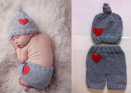 Rot und graues Outfit, Baby-Outfit für Neugeborene, gehäkelt, ideal als Foto-Requisite, für Jungen und Mädchen geeignet,