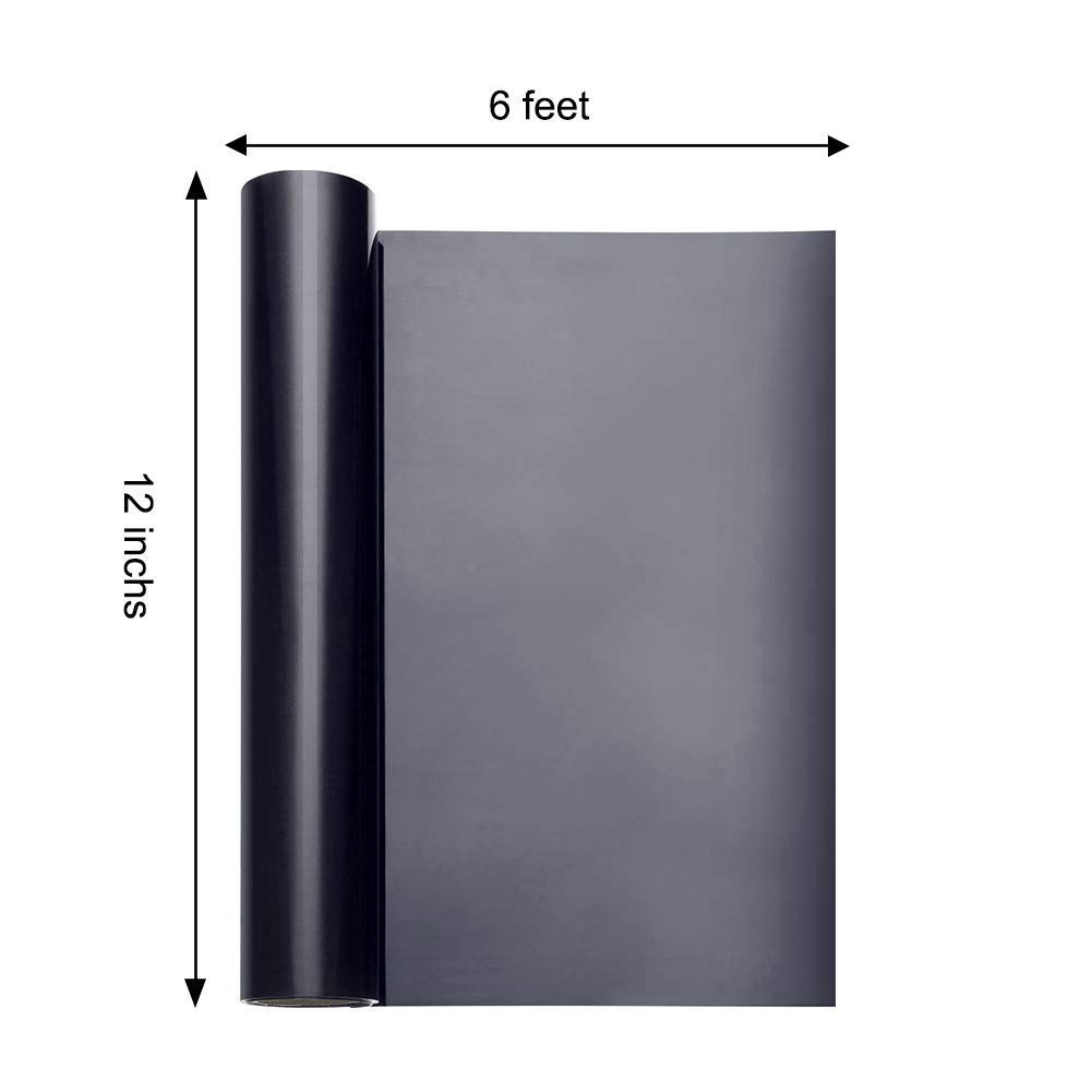 Rollo de vinilo para transferencia de calor imprimible, vinilo para impresión de camisetas y manualidades (12 pulgadas x 5 pies), color negro: Amazon.es: Hogar