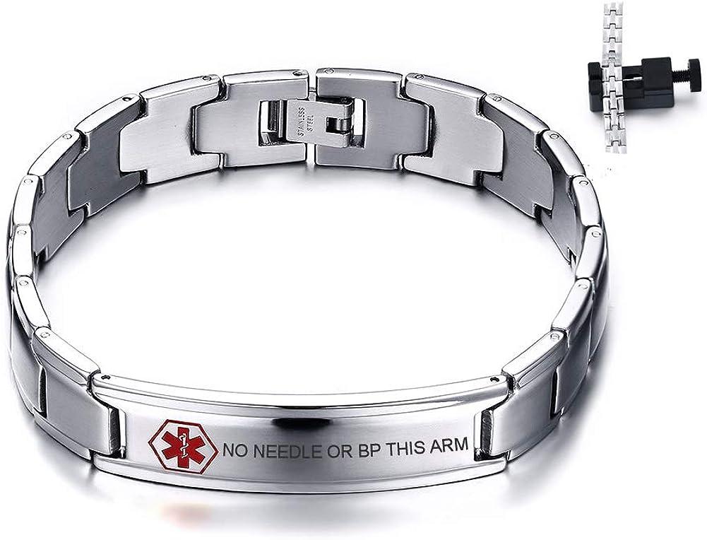 VNOX Customize Medical ID Virginia Beach Mall Stainless Biker Steel Chain Adjustable High material