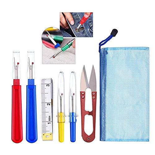 Lvcky Kit de Costura para descoser, 4 Piezas, Herramienta para Cortar Hilos con Tijeras de Recortar, Cinta métrica Suave y Bolsa de Almacenamiento para Coser, colores surtidos