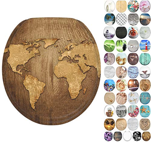 Sanilo Round Toilet Seat, Wide Choice of Slow Close Toilet Seats, Molded Wood, Strong Hinges (World Map)