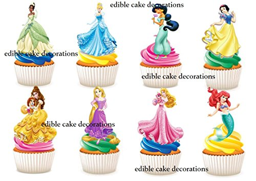 30 x Disney Princess Stand up Essbare Papier Cupcake Topper Kuchen Dekorationen