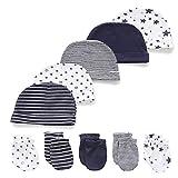 Kiddiezoom Manopla de algodón para bebés, niños y niñas, paquete de 10 unidades de algodón suave para bebé sombreros de bebé, guantes para arañazos