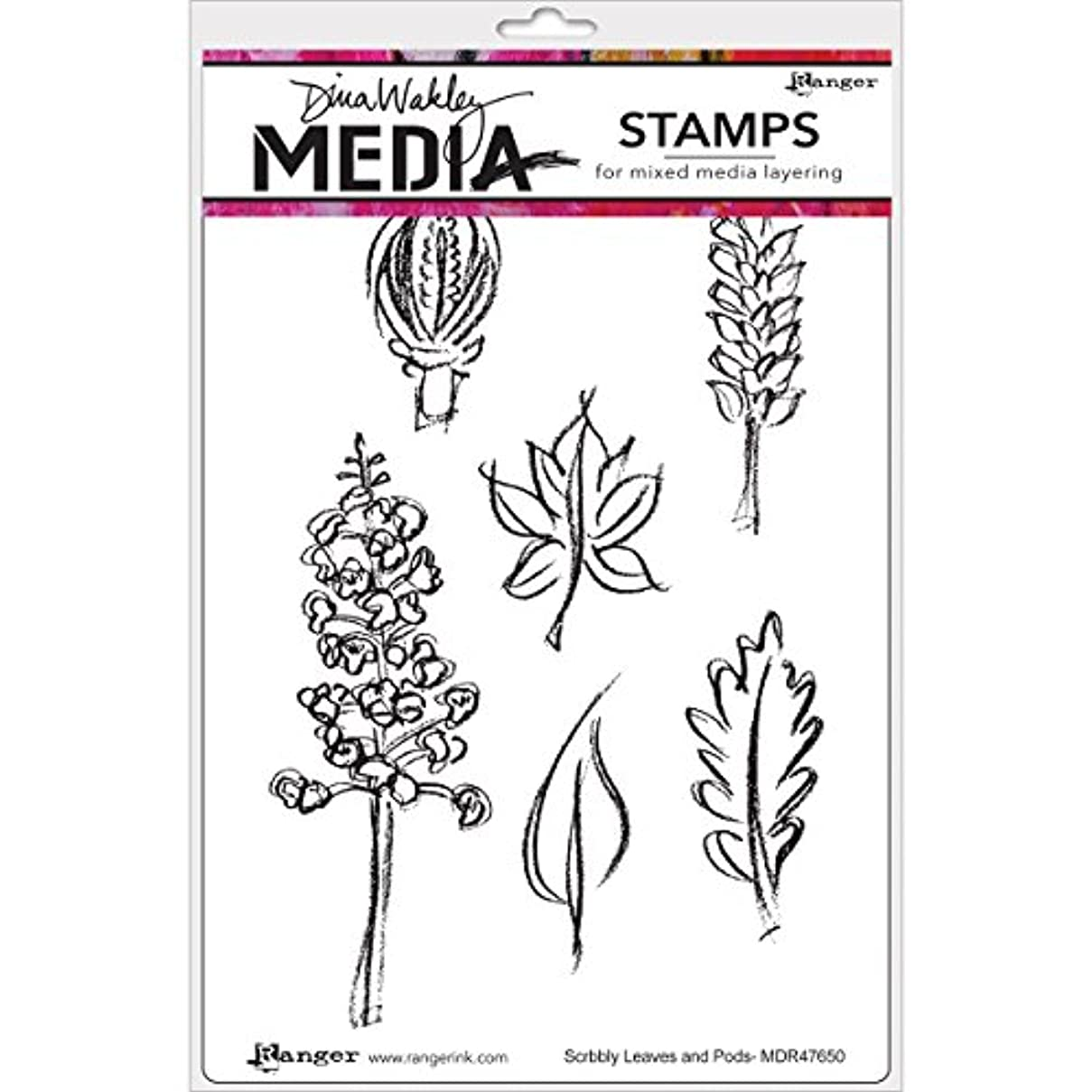 Ranger Leaves & Pods Dina Wakley Media Cling Stamps, 6
