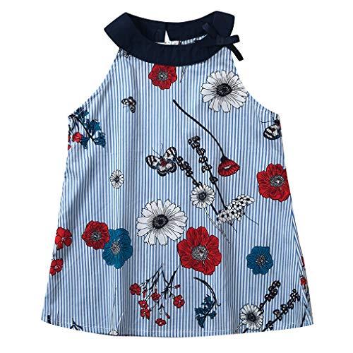 Fenverk Bekleidung Kleinkind Baby T-Shirt Sonnenhut Kind MäDchen Outfits Kleider Blumen Weste Sommerkleidung Strampler Spielanzug (Hellblau-01,3-4 Jahre)(Hellblau-01,3-4 Jahre)