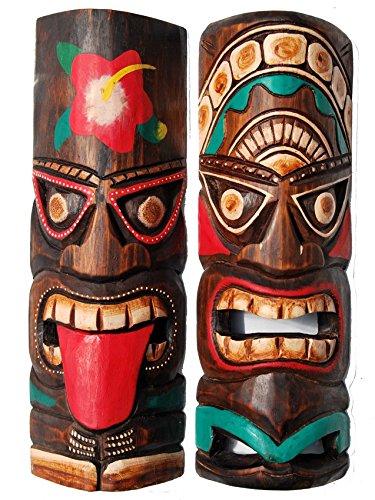 2 Wandmasken 30cm Wandmaske Tiki Board Hawaii Holzmaske