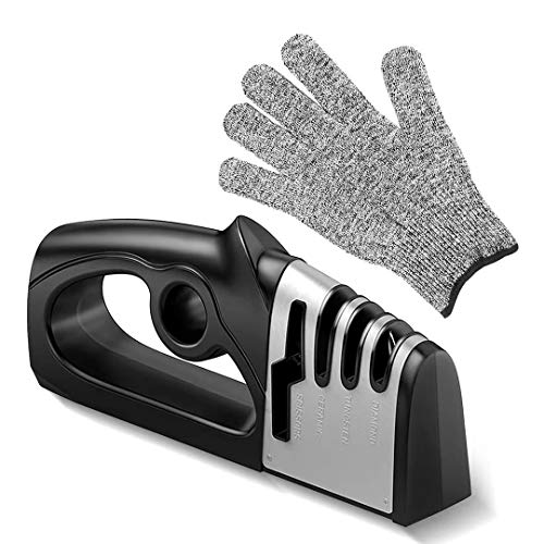 knife sharpeners, Chau KaiKitchen knife sharpeners, Professional 4 in 1 function + Grinding scissors ,Helps repair and polish the blade, including five-level safety professional anti-cut gloves