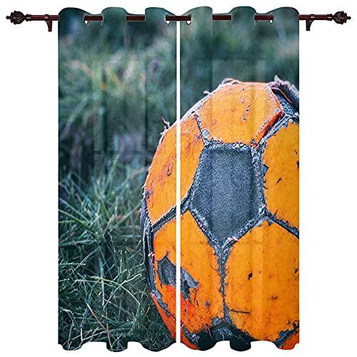 MOUPSDT Cortinas Térmicas Aislantes Fútbol Naranja Selva Verde Cortinas de impresión insonorizante Cortinas Opacas para Salón Oficina Dormitorio 85x200 cm x2