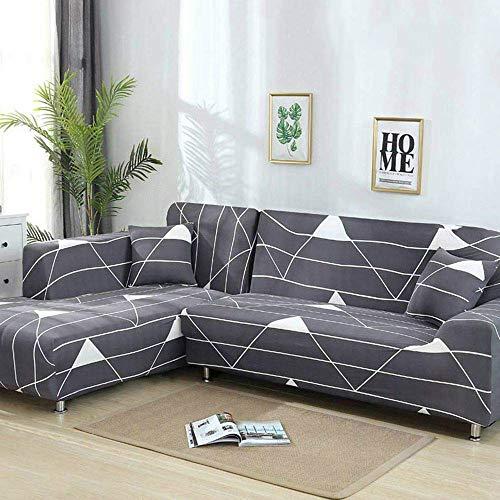 TongBF Funda de sofá de Tela elástica en Forma de L para Sala de Estar, 2 Fundas de Tela de poliéster para 3 plazas (74'-90') + 3 plazas (74'-90') Funda de sofá