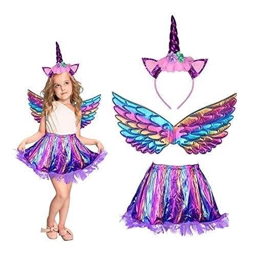 MEZOOM 3 Stück Einhorn Kostüm Prinzessin Set, Mädchen Einhorn Haarreif Flügel mit Tutu Rock Kinder Regenbogen Unicorn Cosplay Kostüme für Halloween Einhornparty Kindergeburtstag (3-9 Jahre)