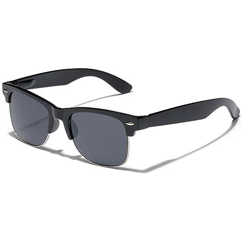 752514c572 Polarized Half Frame Classic Retro Horn Rimmed Sunglasses