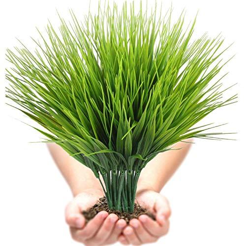 Artificial Plants Outdoor UV resistant Faux Plastic Wheat Grass Fake Leaves Shrubs Window Box Wholesale Greenery Bushes Indoor Outside Home Garden Light Green Verandah Office Windowsill Decor- 4 PCS