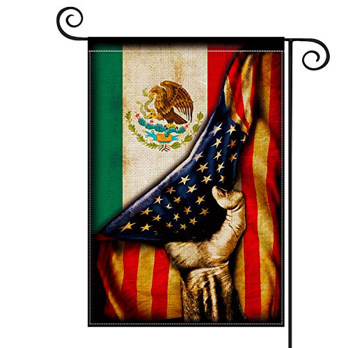 AVOIN Mexican American Garden Flag Vertical Double Sized, Mexico Independence Day Día de independecia Yard Outdoor Decoration 12.5 x 18 Inch