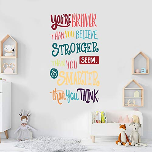 TOARTI Colorful Inspirational Lettering Quote Wall Decal-You're Braver Than You Believe,Stronger Than You Seem,Smarter Than You Think, Positive Quote Sticker for Classroom Kids Decoration