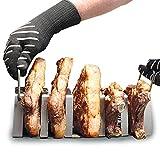 accessori bbq (cuocere in verticale): supporto per costine, costata di manzo, fiorentina carne e t-bone (special - 4 costate da 800 + 1 da 1200 g) barbecue gas, barbecue carbonella, barbecue a legna
