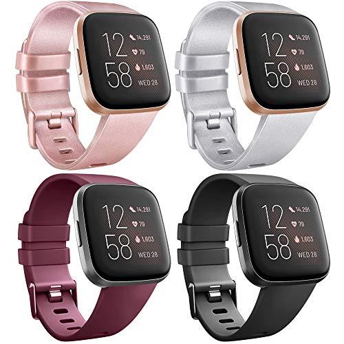 AK Cinturino per Fitbit Versa/Versa ES/Versa Lite/Versa 2, Cinturino Sportivo di Ricambio Regolabile per Fitbit Versa/Versa ES/Versa Lite/Versa 2 (L, 4 Pack Neri + Oro Rosa + Argento + Rosso Vino)