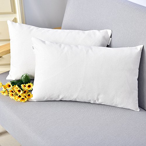 Breathable Faux Linen Decor Oblong Throw Cushion Cover Pillow Sham for Sofa Living Room 12 x 20 Inch White 2 Piece
