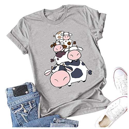 Blusa de Camiseta con Cuello Redondo y Estampado de Animales en 3D de Manga Corta para Mujer Linda Camiseta de Estilo de Moda