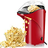 Popcorn Machine Hot Air Popcorn Popper, BPA Free Popcorn Maker Healthy Machine No Oil Needed 2.8oz Large Capacity with Measuring Cup and Removable Lid Red
