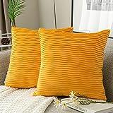 Yamonic Kissenbezüge 2er Pack Set, Samt Soft Solid Dekorative Wellenmuster Kissen Fall für Sofa Schlafzimmer 45x45cm für Couch Bett Sofa Stuhl Schlafzimmer Wohnzimmer, Gelb