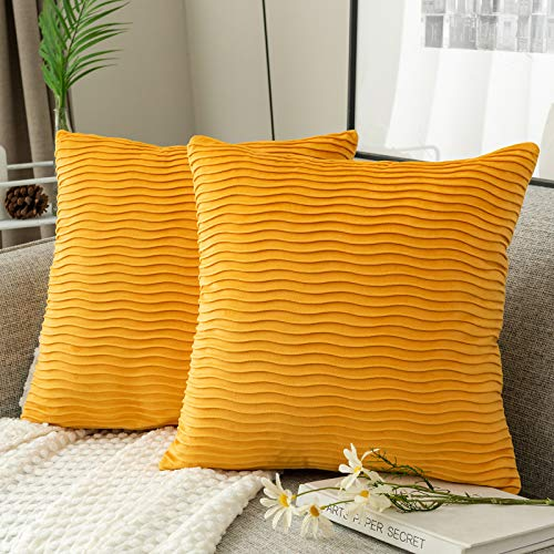 Yamonic 2 Pack Cushion Covers, 18x18 inch Super Soft Velvet Pillow Covers, Decorative Square Wave pattern Pillowcase for Sofa Bed Couch Bench, Yellow