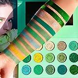 Avocado Green Eyeshadow Palette DE'LANCI 15 Color Bright Eye Shadow Halloween Makeup Pallete Matte Shimmer Glitter Highly Pigmented Vegan Eye Shadow Powder Long Lasting Cosmetic