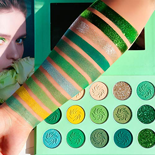 Avocado Green Eyeshadow Palette DE'LANCI 15 Color Bright Eye Shadow Halloween Makeup Pallete Matte Shimmer Glitter Highly Pigmented Vegan Eye Shadow Powder Long Lasting Cosmetic