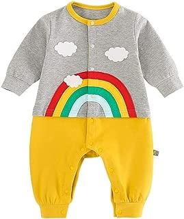 Xifamniy Infant Baby Spring&Autumn Romper Cartoon Rainbow Shape Stitching Baby Jumpsuit