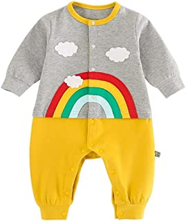 Xifamniy Infant Baby Spring&Autumn Romper Cartoon Rainbow Shape Stitching Baby Jumpsuit