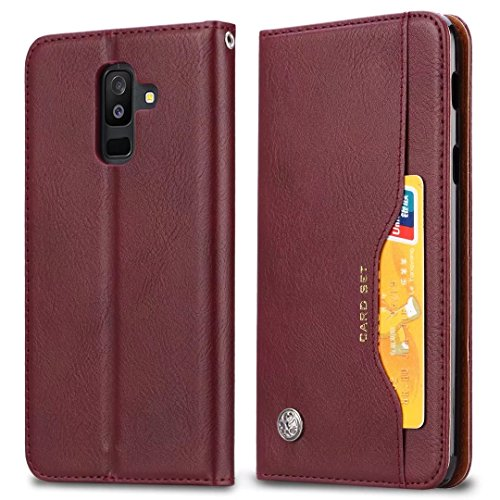 Samsung Galaxy A6 (2018) Hoes, Premium PU Lederen Stand/Over/Portemonnee/Flip Case Voor Samsung Galaxy A6 (2018) telefoonhoes, Wijn Rood