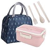 PROKITCHEN Lunch Box + Sac Isotherme, Bento Box sans BPA Inclus 3 Couverts Lunch Box Enfant, Zéro Déchet - Micro-Ondes & Lave-Vaisselle (Rose)