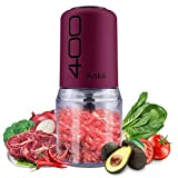 Food Processor Blender Electric Vegetable Chopper Multifunctional Meat Chopper Veggie and Fruit Mincer Mixer with 4 Stainless Steel Blades, 400-Watt, 2 Cup Capacity(Purple)