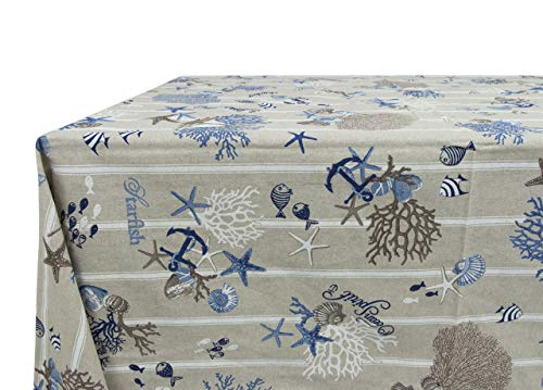 BIANCHERIAWEB Tovaglia Miros Cotone Disegno Mare 90x90 Blu