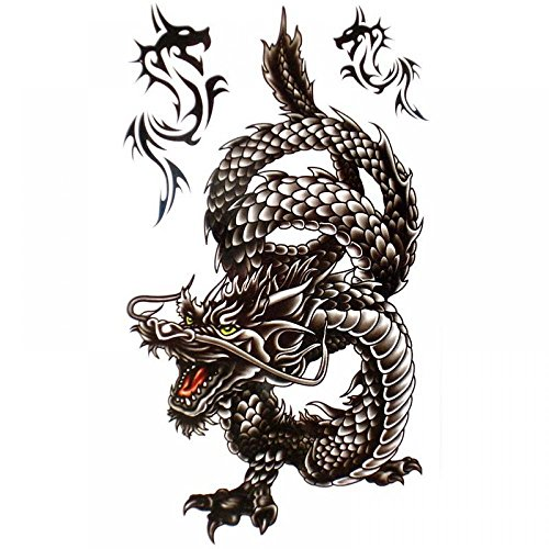 King Horse Cool waterproof and Black Dragon Tattoo sticker for men (tatuajes temporales)