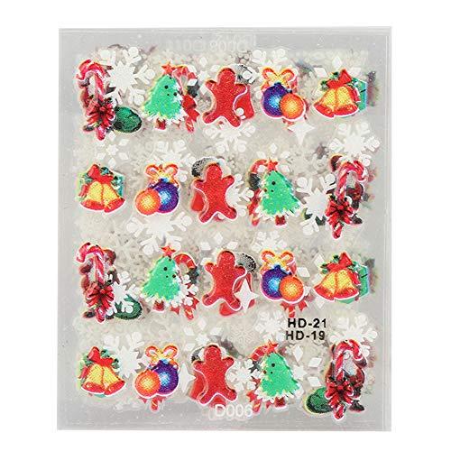 12pcs tema natalizio nail art sticker nail fai da te decalcomanie trasferimento strumenti di decorazione nail art foil trasferimento adesivi immagini di natale(Snowflake Type)