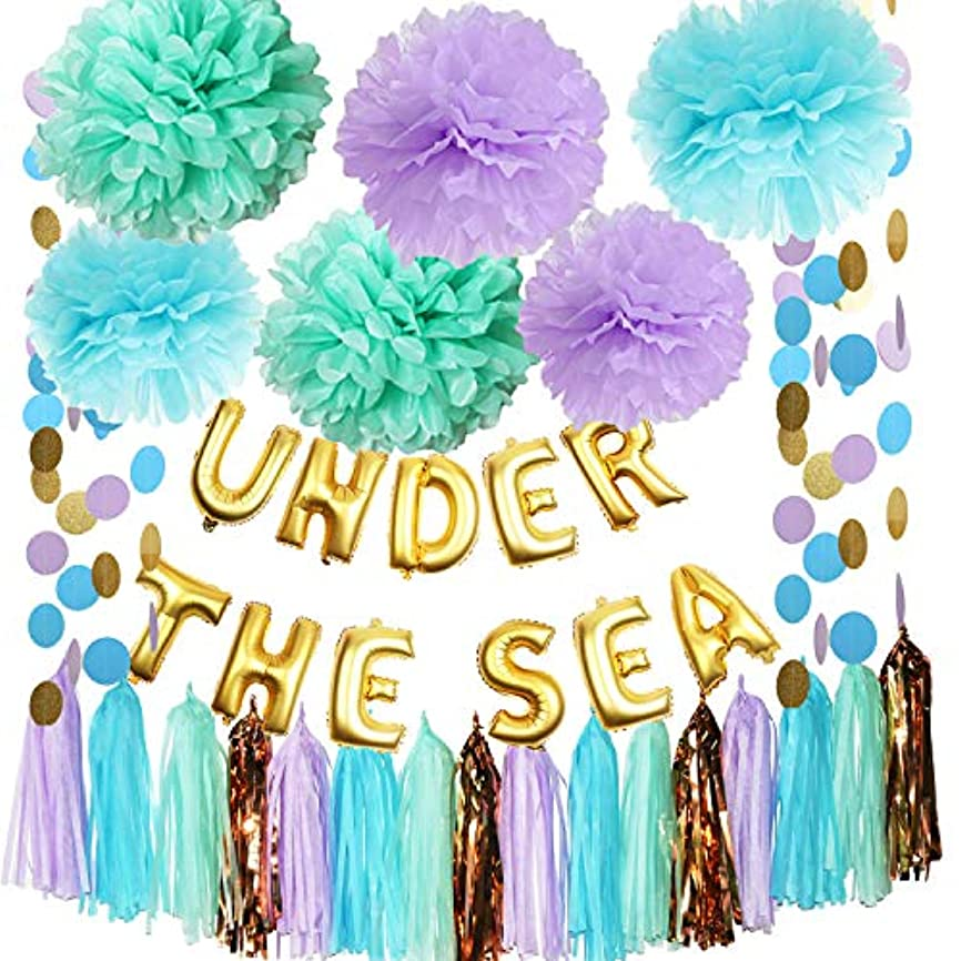 Mermaid Party Decorations Under The Sea Theme Purple Blue Mint Baby Shower Decorations Tissue Pom Poms First Birthday Decorations Purple Bridal Shower Decorations Under The Sea Ballons